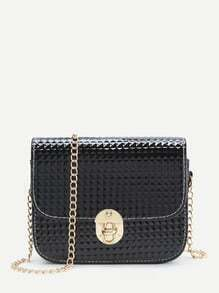 Black Diamond Textured Twist Lock Chain Bag