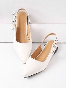 White Point Toe Sling Back Patent Leather Flats