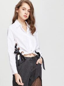 White Eyelet Lace Up Side Knot Front Crop Blouse