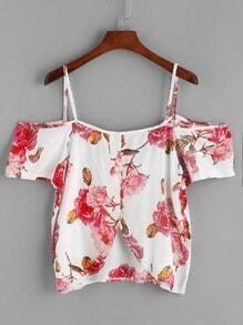 Cold Shoulder Dip Hem Blouse In Floral Print