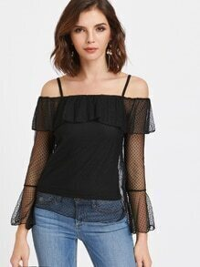 Dobby Mesh Frill Bardot Top With Cami