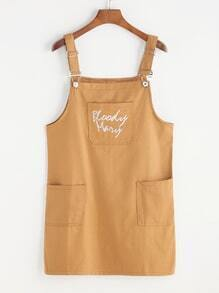 Letter Embroidered Dual Pockets Pinafore Dress