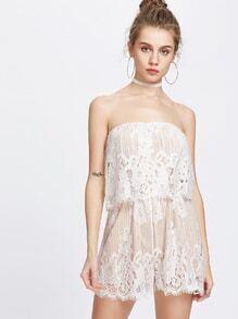 White Lace Crochet Tube Romper