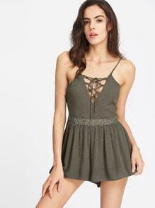 Army Green Lace Up Front Lace Detail Romper