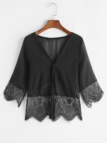 Black V Neck Eyelash Lace Trim Top
