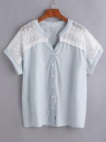 Blusa con encaje insertado - azul