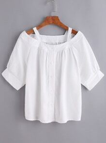 White Cold Shoulder Button Front Top