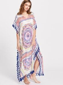 Tribal Print Tassel Trim Slit Side Cover Up