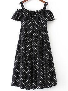 Black Polka Dot Cold Shoulder Ruffle Dress