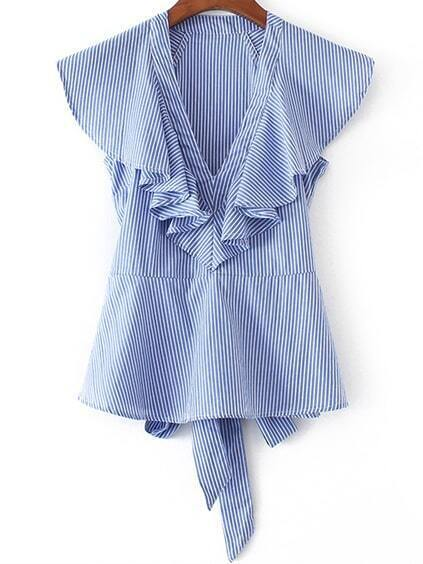 Blue Striped Ruffle Trim Blouse With Self Tie