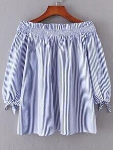 Blue Vertical Striped Boat Neck Tie Cuff Blouse