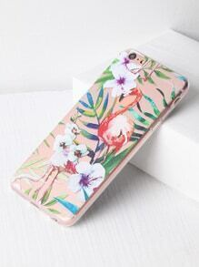 Funda para iPhone 6 Plus/6s transparente con estampado de flamingo y hoja