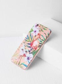 Funda para iPhone 6/6s transparente con estampado de flamingo y hoja