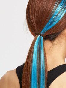 Paire de cheveux droits turquoise