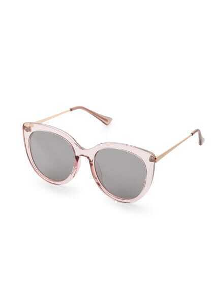Pink Frame Grey Lens Cat Eye Sunglasses