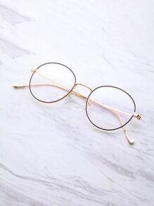 Black And Gold Frame Round Glasses