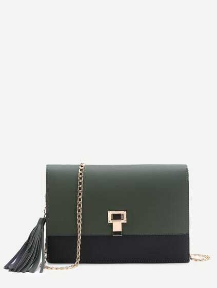 Dark Green Flap Crossbaody Bag With Tassel