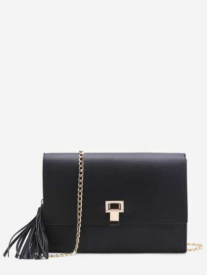 Black Flap Crossbaody Bag With Tassel