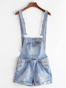 Light Blue Ripped Cuffed Denim Overall Shorts