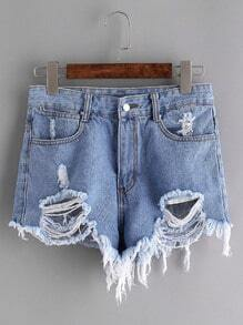 Hellblau Ripped Raw Hem Denim Shorts