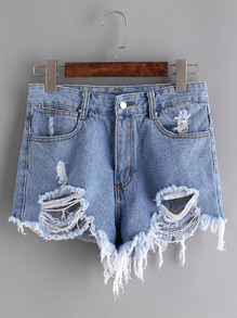 Shorts en denim rotos - azul claro