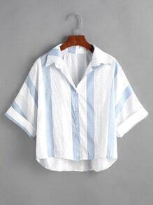 Kontrast gestreiftes hohes, tiefes Manschettenhemd