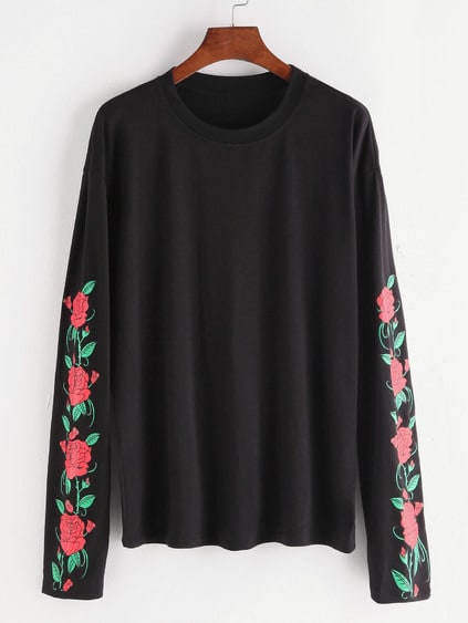 Black Florals Drop Shoulder T-shirt