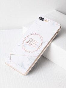 Patrón de mármol con la impresión de la letra iPhone 7 Plus Case