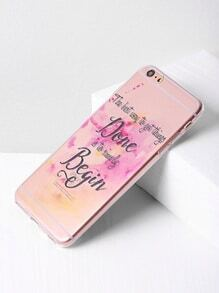 Letter Print Clear iPhone 6 Plus / 6s Plus Fall