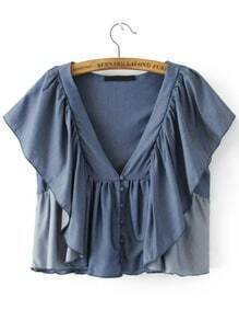 Butterfly Sleeve Plunging V-Neckline Ruffle Top