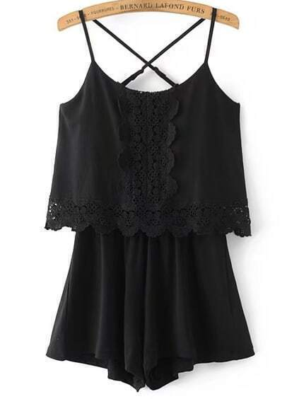 Criss Cross Lace Trim Cami Correas Playsuit