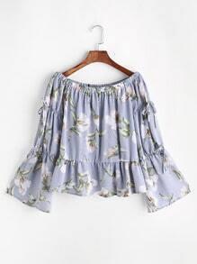 Bluse mit Boot-Ausschnitt Blumenmuster Schleife und Falten