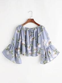 Boat Neck Bell Sleeve Crop Blouse In Floral Print