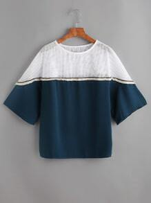 Blusa de organza en contraste de malla con ribete con borlas en color block