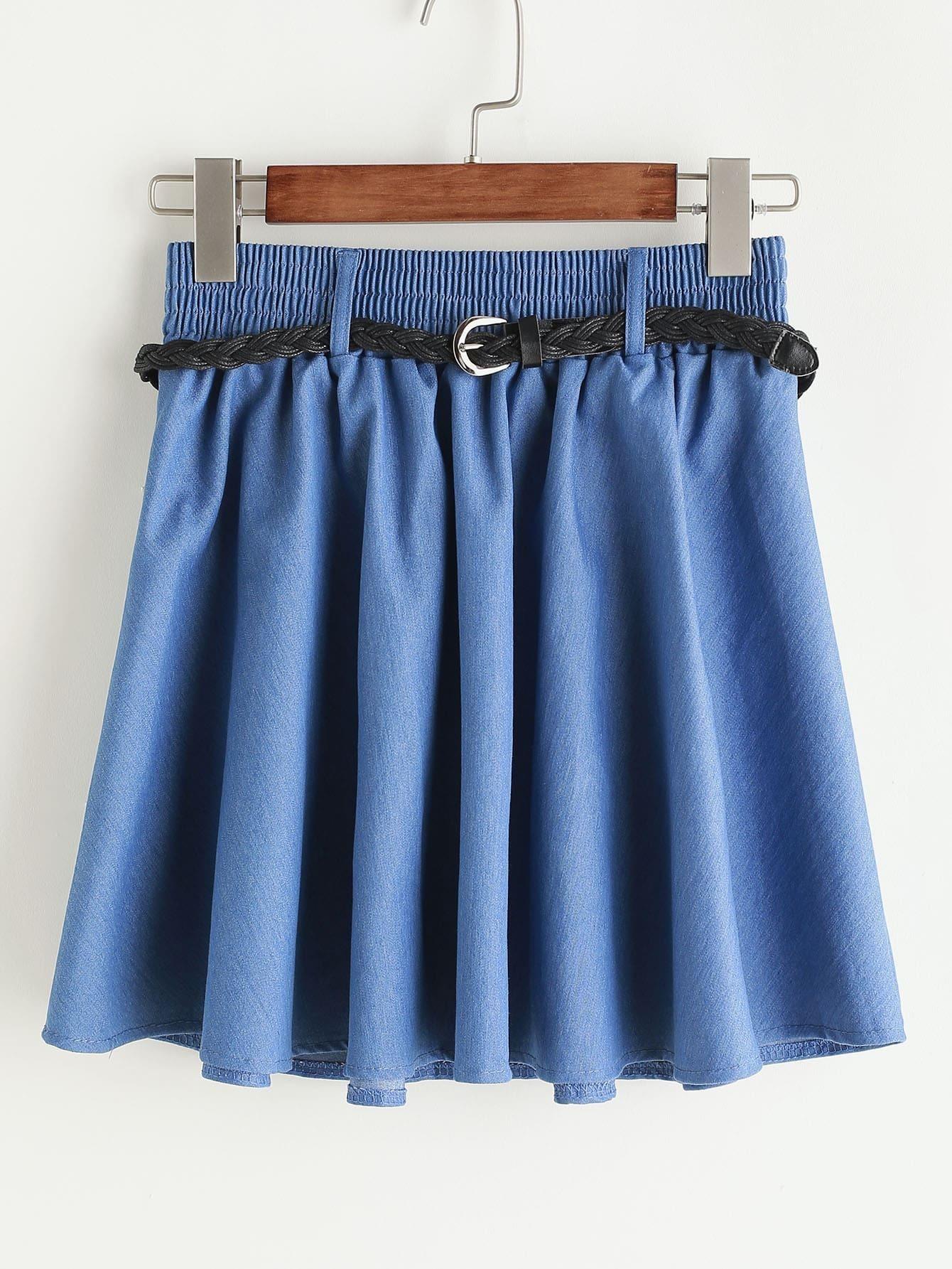 Pleated Denim Skirt With Belt