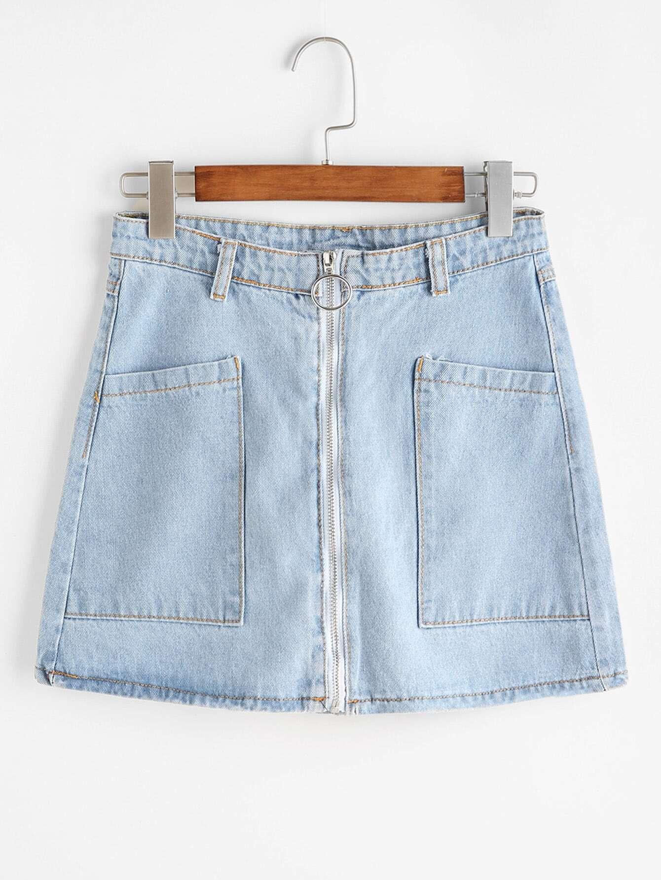 Dual Pockets Zip Front A Line Denim Skirt