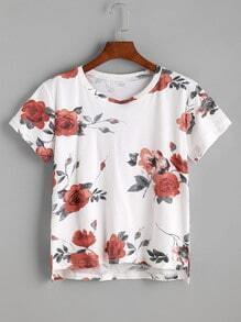 Floral Print High Low T-shirt
