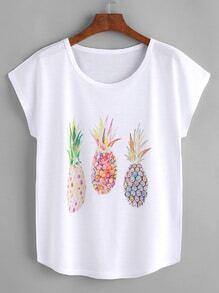Camiseta de mangas dolman con estampado de piña