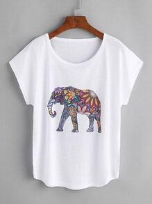 T-Shirt mit Elefantmuster und Fledermauärmeln