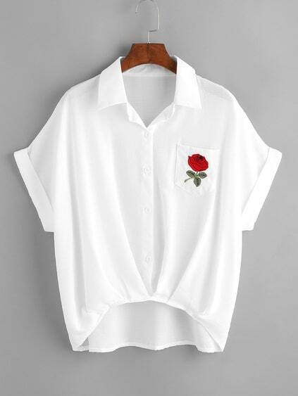 Rose Embroidered High Low Cuffed Shirt