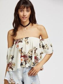 Top corto con estampado de flor con hombros al aire