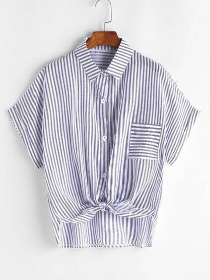Striped Knotted Front Shirt With Pocket