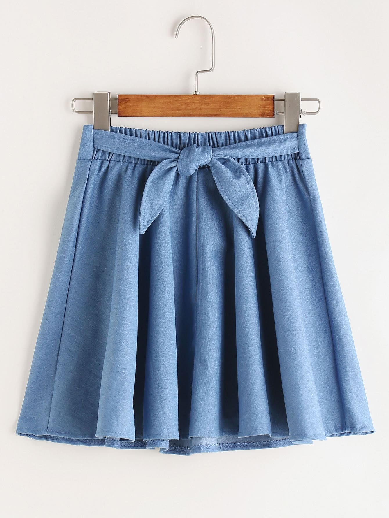 Tie Front Pleated Denim Skirt