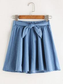 Tie Front Pleated Denim Skirt