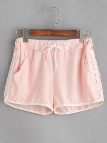 Contrast Trim Drawstring Shorts