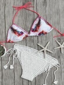 Parte baja bikini en triángulo de croché