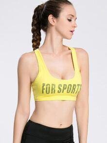 Slogan Print Cut Out Back Gym Bra
