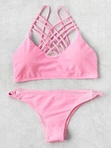 Set bikini con tiras cruzadas