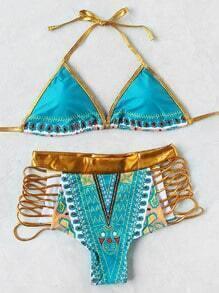 Set bikini con ribete en contraste con aberturas con cintura alta