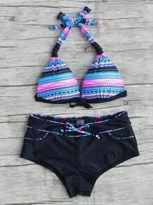 Set bikini de halter con estampado geométrico